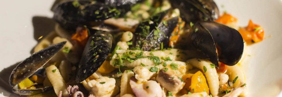 WA Seafood Cavatelli in white wine Sauce Entre'