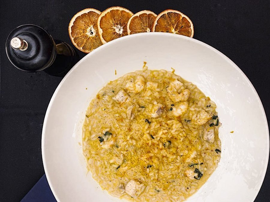 Risotto Seafood Dish and Orange